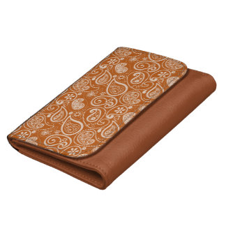 Burnt Orange Paisley; Floral Wallet For Women