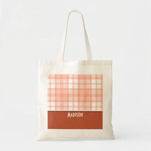 Burnt Orange, Peach Plaid Bags