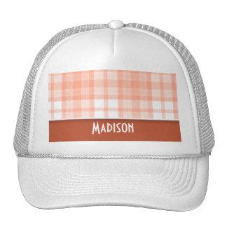Burnt Orange, Peach Plaid Hats