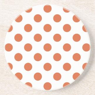 Burnt orange polka dots beverage coasters