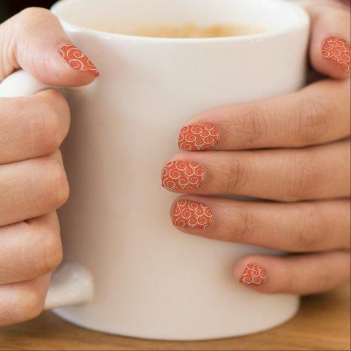 Burnt Orange Retro Swirl Pattern Minx ® Nail Wraps