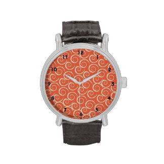 Burnt Orange Retro Swirl Pattern Wrist Watches