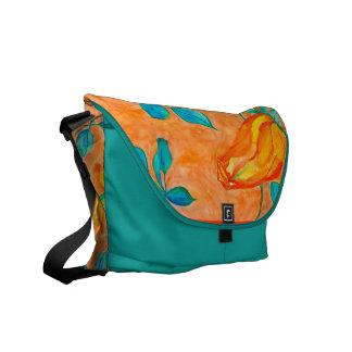 Burnt Orange Rose Courier Bag