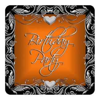 Burnt Orange Silver Black Birthday Party 5.25x5.25 Square Paper Invitation Card