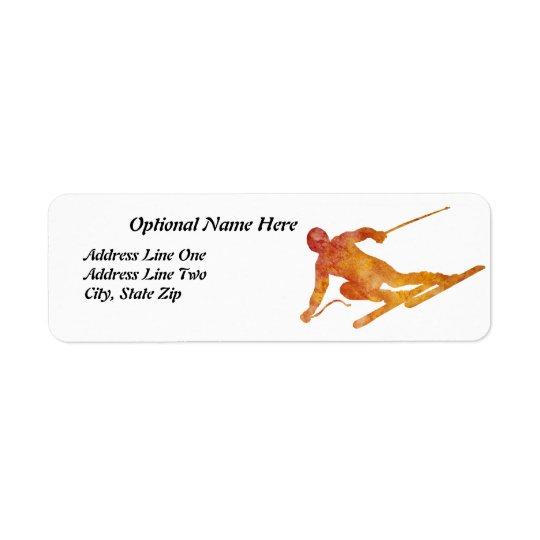 Burnt Orange Skier with Customisable Text
