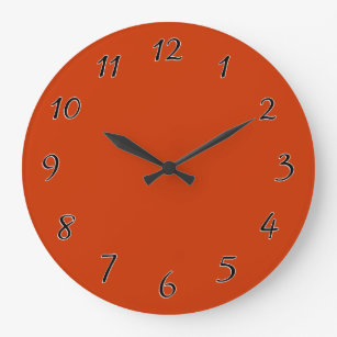 Burnt Orange Wall Clocks Zazzle Uk