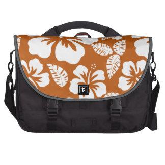 Burnt Orange Tropical Hibiscus Laptop Commuter Bag