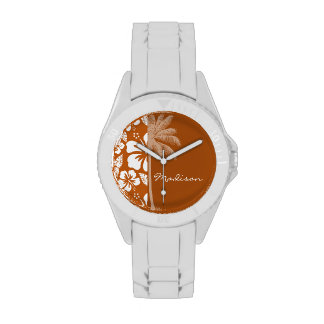 Burnt Orange Tropical Hibiscus; Palm Watches