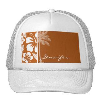 Burnt Orange Tropical Hibiscus; Palm Trucker Hats