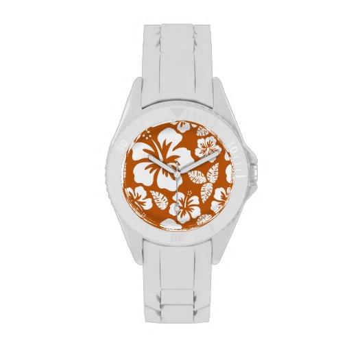 Burnt Orange Tropical Hibiscus Watches