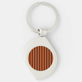 Burnt Orange Vertical Stripes Retro Style Silver-Colored Swirl Key Ring