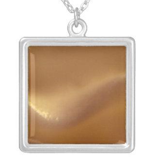 Burnt Orange Wave Dream Square Pendant Necklace