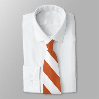 Burnt Orange & White Custom University Stripe Tie