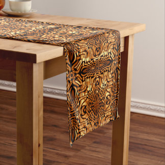 Burnt Orange Yellow Brown African Mosaic Pattern Medium Table Runner