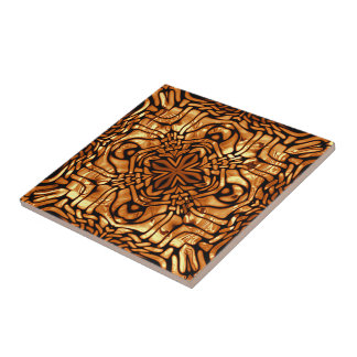 Burnt Orange Yellow Brown African Mosaic Pattern Tile