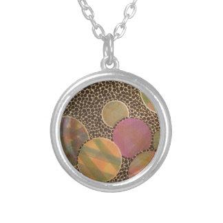 burnt plaid round pendant necklace