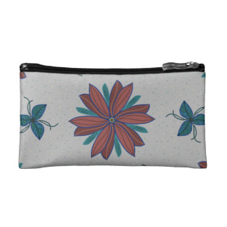 Burnt red flowers and leaves cosmetic bag