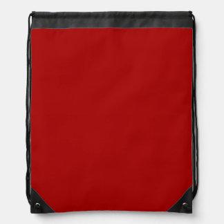 Burnt Red Solid Color Drawstring Backpacks