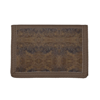 Burnt Rustic Leather 10 Trifold Wallet