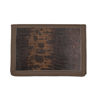 Burnt Rustic Leather 5 Tri-fold Wallets