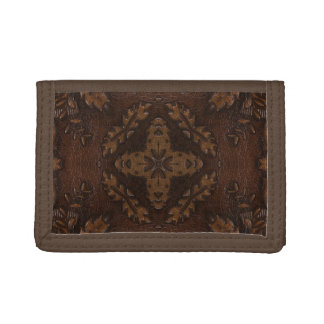 Burnt Rustic Leather 6 Tri-fold Wallets