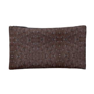 Burnt Rustic Leather 8 Makeup Bag