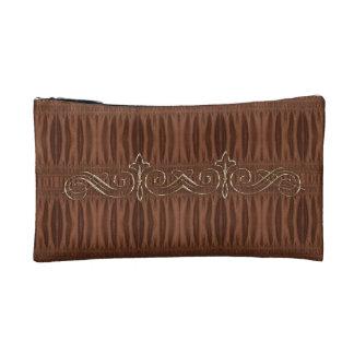 Burnt Rustic Leather 9 Makeup Bag