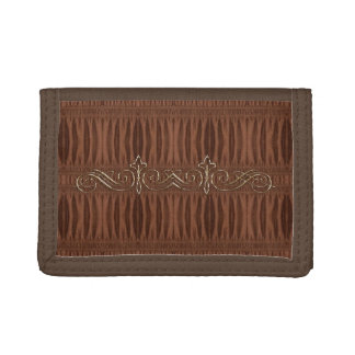 Burnt Rustic Leather 9 Trifold Wallets
