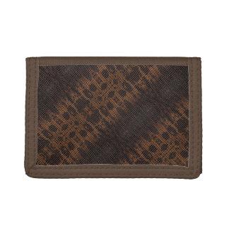 Burnt Rustic Snake Skin 4a Tri-fold Wallets