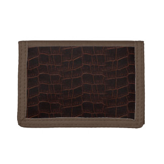 Burnt Rustic Snake Skin 4b Tri-fold Wallets