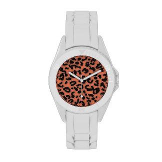 Burnt Sienna Leopard Animal Print Wrist Watches