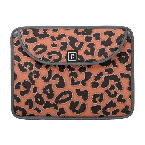 Burnt Sienna Leopard Animal Print Sleeves For MacBooks