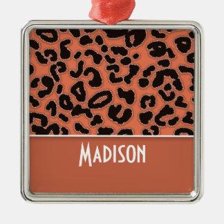 Burnt Sienna Leopard Animal Print Ornament