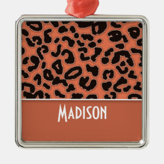 Burnt Sienna Leopard Animal Print Silver-Colored Square Decoration