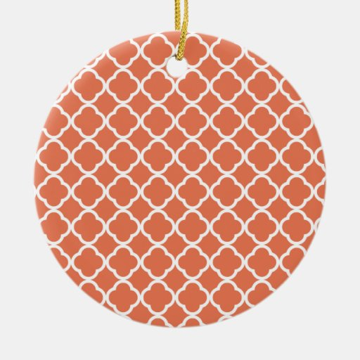 Burnt Sienna Quatrefoil Christmas Ornament