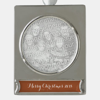 Burnt Sienna Solid Color Silver Plated Banner Ornament