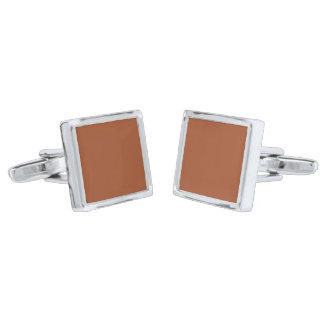 Burnt Sienna Solid Color Silver Finish Cuff Links