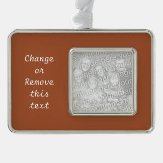 Burnt Sienna Solid Color Silver Plated Framed Ornament
