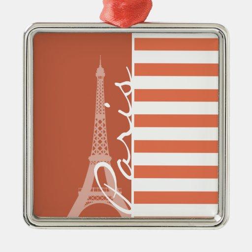 Burnt Sienna Stripes; Paris Christmas Tree Ornaments