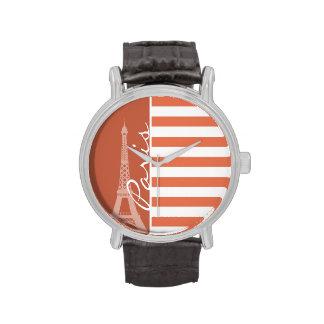 Burnt Sienna Stripes; Paris Watches