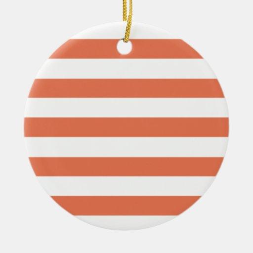 Burnt Sienna Stripes; Striped Christmas Ornaments