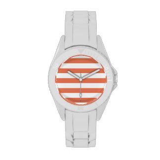 Burnt Sienna Stripes; Striped Wrist Watches