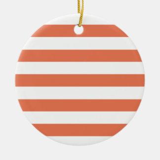 Burnt Sienna Stripes; Striped Round Ceramic Decoration