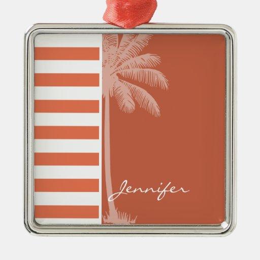 Burnt Sienna Stripes; Summer Palm Christmas Ornament