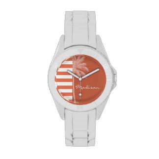 Burnt Sienna Stripes; Summer Palm Wrist Watch