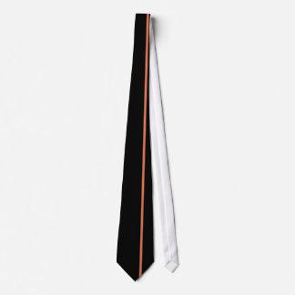 Burnt Sienna Thin Vertical Line on Black Tie