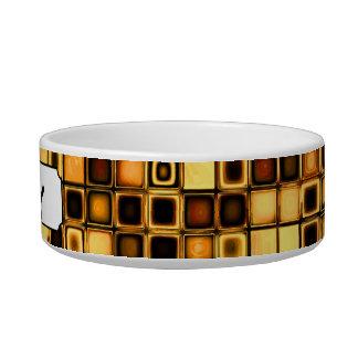 Burnt Terra Cotta Textured Mosaic Tiles Pattern Cat Water Bowl