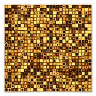 Burnt Terra Cotta Textured Mosaic Tiles Pattern Photo Print