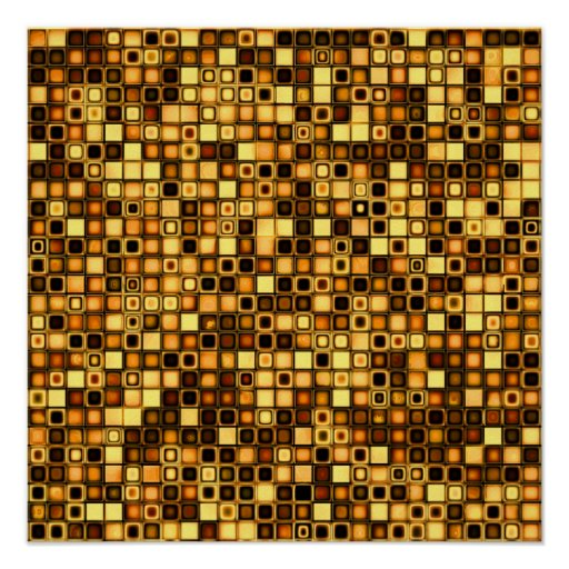 Burnt Terra Cotta Textured Mosaic Tiles Pattern Posters