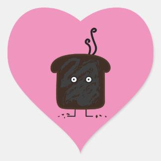 Burnt Toast smoke crumbs ashes bread Heart Sticker